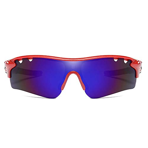 Red Frame Lila Lens Trend Männer und Frauen mit dem gleichen Fahren Sonnenbrille PC-Material Polarized Sports Outdoor Riding UV400 Sonnenbrille Brille (Farbe : Red)