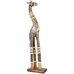 Jirafa de madera 60cm jirafa África Animal Figura Decoración Hogar Escultura