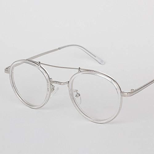 Mädchen Mode Runde Metall Myopie Brillengestell Optische Brillen Nicht verschreibungspflichtige Brillengestell für Frauen. Brille (Farbe : Clear)