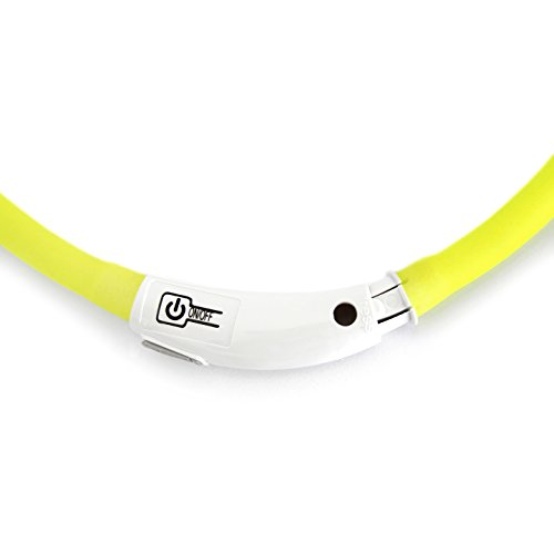 LED USB Halsband Silikon Hundehalsband Leuchthalsband für Hunde Haustier Katzen aufladbar per USB (Größe S-L auf 18-65 cm individuell kürzbar) in gelb von der Marke PRECORN - 4