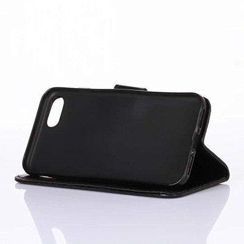 iPhone 7Case, Augus tcoco Stand Wallet Purse Credit Card ID Holders Magnetic Étui folio souple TPU Bumper en cuir PU ultra slim fit Cover For iPhone 7 noir