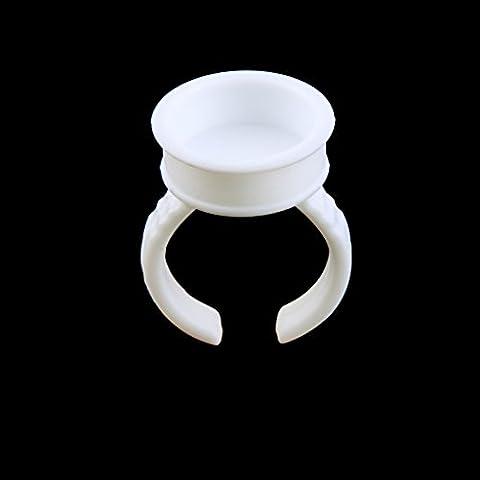 100pcs Anillos de Extensión Pestañas Pegamento Desechables Plástico Blanco Ranura L