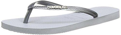 Havaianas Slim Logo Metallic, Tongs Femme Grigio (Grau (Ice Grey / 3498))