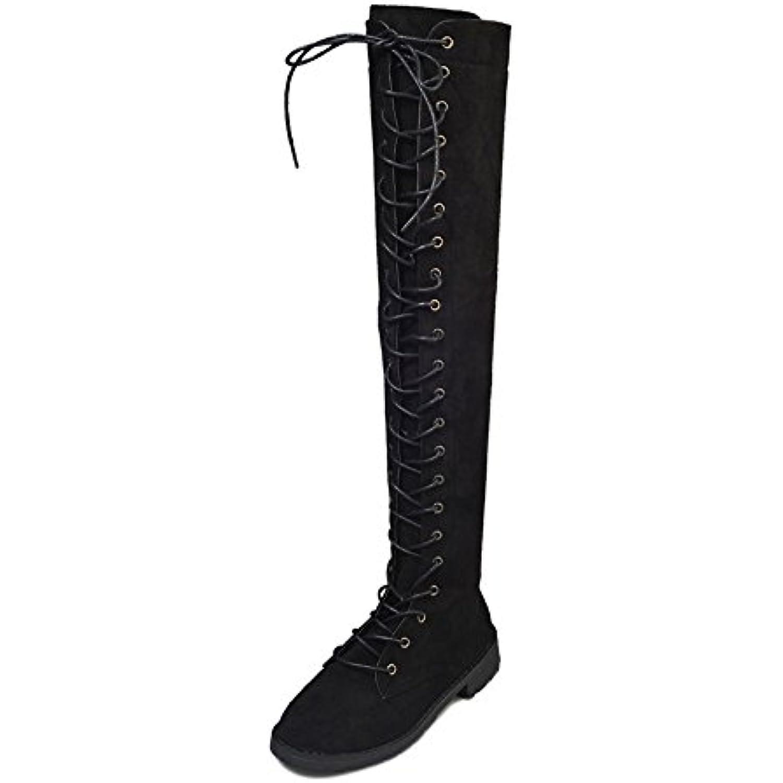 Sonnena Femmes Bottes Bottes Cuissardes Chaussures Femmes, Femmes, Femmes, Cross-Tied Platform Chaussures Bottes Hautes sur Les... - B07GWN2V1S - 30523b