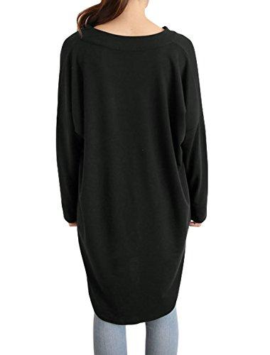 sourcingmap Femme épaule dénudée Manches En Eventail En vrac Tunique Chemisier Noir