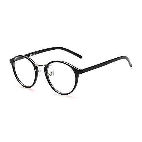 Cyxus filtre lumière bleue lunettes,rétro ronde cadre [transparent lentille] anti fatigue oculaire, grande pour ordinateur / téléphone portable / jeu (noir
