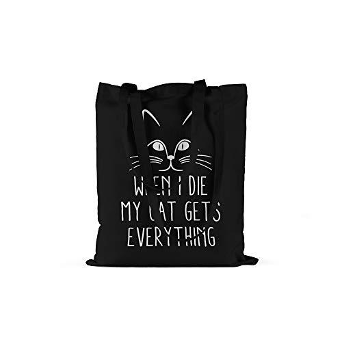 licaso Bolsa de Deporte Personalizada Texto en (Color) tu Nombre en Bolsa de Deporte con cordón Resistente Gym Bag Personalizable con cordón 100% algodón, When I Die My Cat Get Everything, Negro