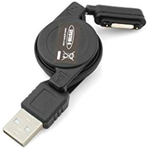 System-s cable USB retráctil con ruedas traseras imán con resorte accedíais unos 75 cm para Sony Xperia Z1 Z1s Z2 Z3 Compact Xperia Ultra Xperia Tablet Negro