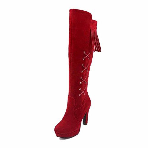 VogueZone009 Donna Cerniera Tacco Alto Pelle Di Mucca Frange Alta Altezza Stivali Rosso