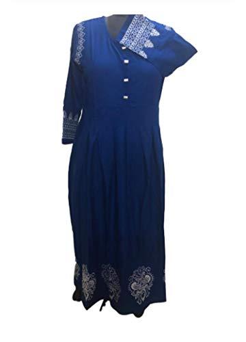 Ashwati Women's Rayon Printed Anarkali Kurti Blue (XXL BUST 44 INCHES)
