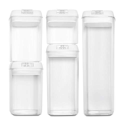 BASIL   Vakuum Vorratsdosen & Frischhaltedosen   5er-Set   BPA frei & spülmaschinengeeignet   luftdicht & wasserdicht   Aufbewahrungsdose & Vorratsbehälter mit selbstklebendem Beschriftungsetikett - Vorratsbehälter Set