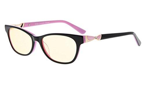 Eyekepper Damen Blaulicht Blocking Brille Computer Lesebrille Acetat Rahmen für kleine Frauen Gesicht,Bernstein getönten Gläsern (Schwarz Rosa,+0.75)