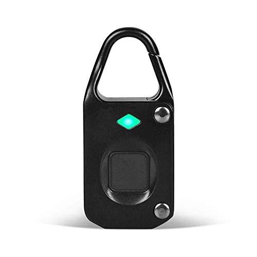 Lucchetto for impronte digitali, [Ultima versione] Blocco biometrico con 10 capacità di impronte digitali Carica USB Tempo di standby più lungo Blocco intelligente senza Chiavetta for porta Valigia Za