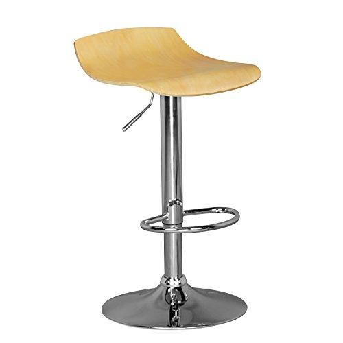 Amstyle Ibiza, Barhocker mit 360° drehbarer Sitzfläche aus Holz, Hocker ist höhenverstellbar, Design Barstuhl mit Fußstütze, Tresenstuhl ist Verstellbar, silberfarbenes Chromgestell