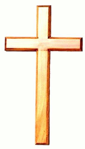 Croce in legno naturale, 40 cm, da appendere. Simbolo religioso alto 40,64 cm, per casa, ufficio, scuola e