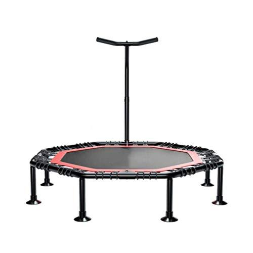 ZQ QZ Fitness-Trampolin Aerobic-Übungen Einstellbare Armlehnen Silent-Falten Tragbare Geeignet Kinder Erwachsene, 2 Größen (Farbe: Schwarz) (Color : Black, Size : 45 inches)