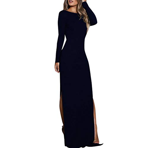 a66d1b747b00c0 Dragon868 Donna Vestito alla Caviglia Elegante Slim Fit Scollo A Barca  Vestito con Spacco Backless Maniche
