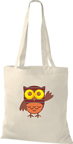 ShirtInStyle Jute Stoffbeutel Bunte Eule niedliche Tragetasche mit Punkte Karos streifen Owl Retro diverse Farbe, natur