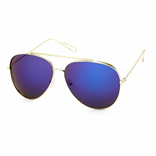 Stacle Double Metal Side Unisex Aviator Sunglasses (STCD1008|Golden Frame|Blue Mirrored Lens)