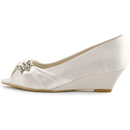 Elegantpark WP1403 bout ouvert Compensé Femmes boucle arc Satin Chaussures de Mariée Ivoire