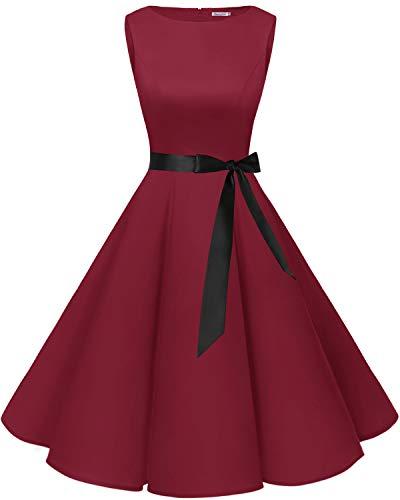 bbonlinedress 50s Retro Schwingen Vintage Rockabilly Kleid Cocktail Faltenrock Dark Red 3XL (Vintage-stil-cocktail-kleid Plus)