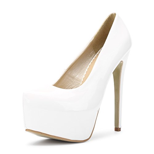 3df0917e5b9a72 Phorecys Womens Hidden Platform Stiletto Heels Pump Club Shoes White Tag 38-UK  5