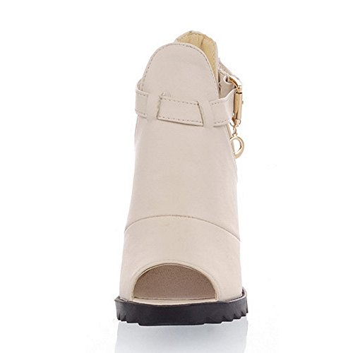 COOLCEPT Femmes Mode Ankle Wrap Sandales Peep Toe Augmentation Chaussures Blanc
