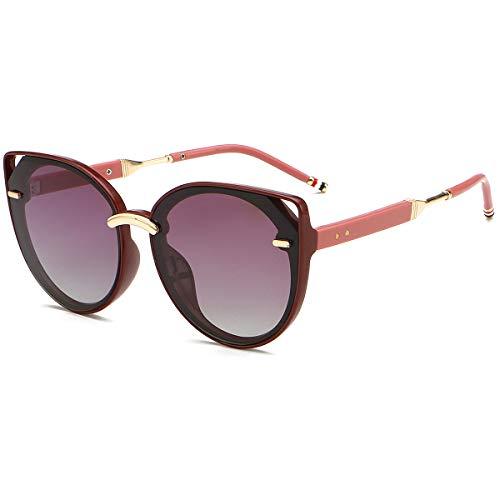 QJKJ Sonnenbrille, Damen Katzenaugen Sonnenbrille polarisiert im Freien Reise UV-Schutz 400 Schutz Sonnenbrille Legierung Rahmen (Lila)