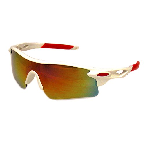 Occhiali Da Sole Sportivi Ciclismo Occhiali Mens Sport Bici UV400 Lente Di Guida (Bianco)