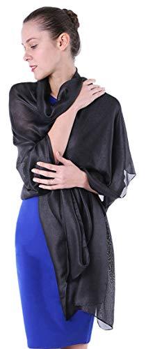 Fairycece Leicht und Weich Stola für Abendkleid Hochzeitskleid, Schwarz, 180x90cm