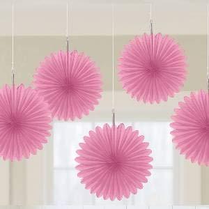 Amscan International-29055-109-55ventiladores nuevo rosa Tarjeta de 15cm