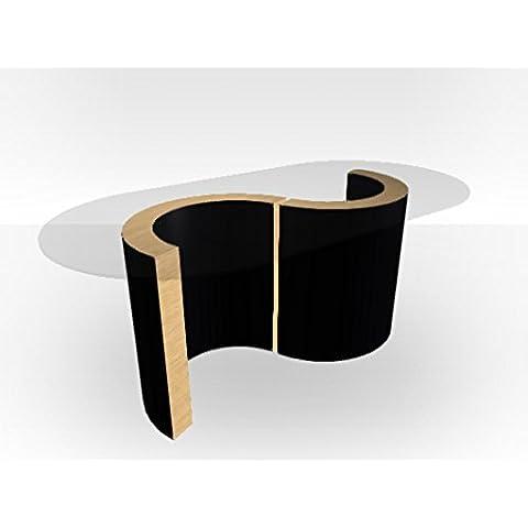 Esterno: Monaco, tavolino da caffè in vetro Natural Oak Matt