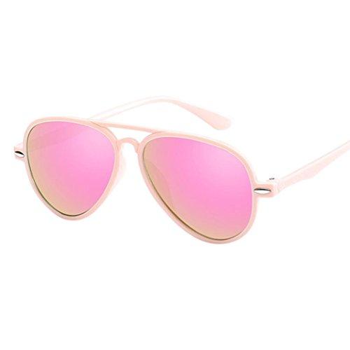 URSING Kinder Retro Anti-UV-Sonnenbrille Bunt Film Brille Super cool Baby Mädchen Gläser Kindersonnenbrille Aviator Metall Outdoorsport-Brille Fashion Sunglasses Eyewear (Rosa)