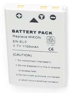 Two (2x) Rechargeable Li-on EN-EL5 ENEL5 Batteries for Nikon CoolPix P100, 3700, 4200, 5200, 5900, 7900, P3, P4, P5000, P5100, P6000, P80, P90, S10