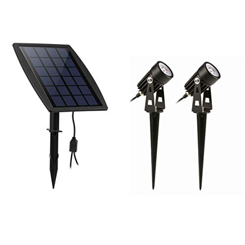 Houkiper LED Solar Landschaft 2 STÜCKE Spot lichter Wasserdichte Outdoor Solar Strahler Dämmerung bis Dämmerung Auto Auf Aus (3000K) - Outdoor-spot-licht-solar