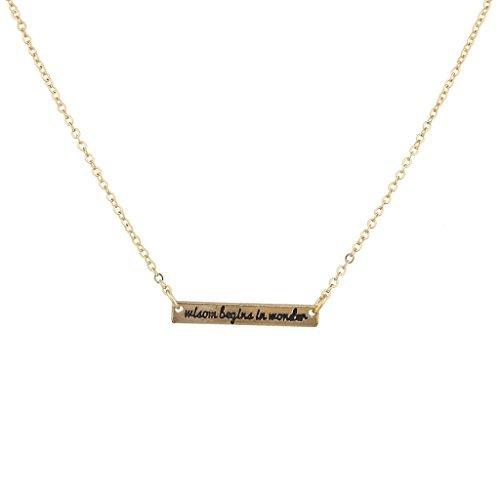 LUX Zubehör Gold Ton Wisdom Begins In Wonder Bar Halskette