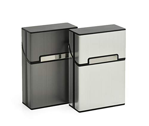 Zigarettenbox Alu (2er-Set) Zigarettenetui mit Magnetverschluss Metallzigarettenbox für Zigarettenschachtel Zigaretten Kasten - Grau + Silber -