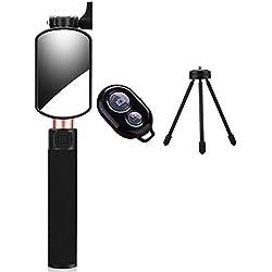 UMCCC Selfie Stick Wire Control Con Specchietto Retrovisore Bluetooth Treppiede Staffa A Tre Pezzi Per Iphone Samsung Huawei Xiaomi Vivo E Così Via