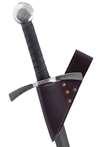 Battle-Merchant Schwertgürtelhalter aus braunem Leder - Schwerthalter Gürtelhalter Waffenhalter für Schwert