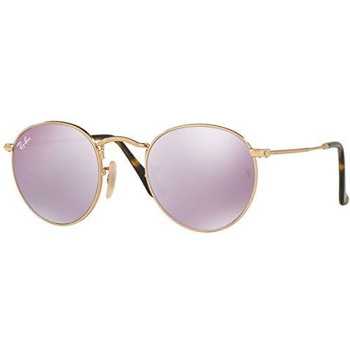 Ray Ban Herren Sonnenbrille Round Metal Gestell: Gold,Bügel: Havana, Gläser: lila 001/8O), Small (Herstellergröße: 47)
