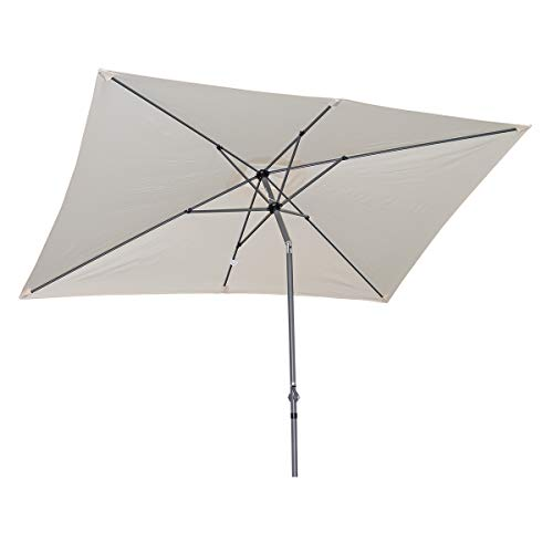 Angel living 2x3m ombrellone inclinabile in alluminio e poliestere resistente alla ruggine (crema)