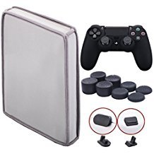 9CDeer Soft Neoprene Dirt Dust Protective Cover Grey for PS4 Slim Vertical Version + 1 Piece Controller Silicone Cover Skin Black + 2 Pieces Controller Dust Proof Plugs + 8 Pieces Thumb Grips by 9CDeer