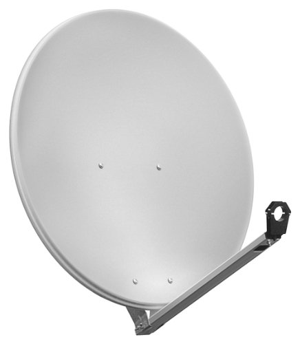 Goobay SAT-Spiegel/Schüssel (80 cm, HDTV, 40mm Feed, 30-60mm Mast) hellgrau