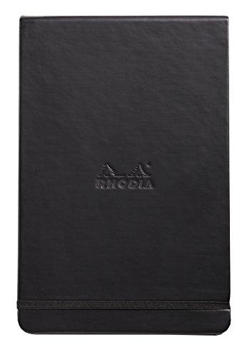 Rhodia 118379C Webnote Pad (elfenbein, mikroperforiert mit Gummizug, liniert, dot grid, 90 g, 14 x 21 g, 96 Blatt) 1 Stück schwarz -