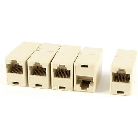 5 piezas de plástico RJ45 8P8C Beige hembra a hembra conectores Ethernet copulantes