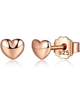 BAMOER 925 Sterling Silber Petite Herz Ohrringe für mädchen Schmuck Weihnachtsgeschenk
