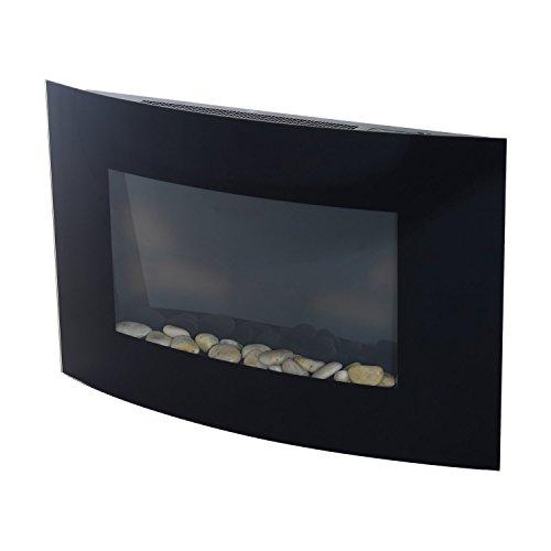 Homcom caminetto elettrico realizzato in acciaio inossidabile con vetro temperato 65 x 11.4 x 52cm nero