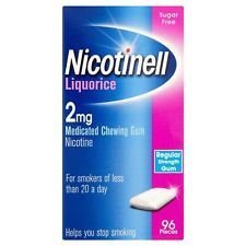 3 x Nicotinell Liquorice 2mg Medicated Chewing Gum Regular Strength 96 Pieces by Nicotinell