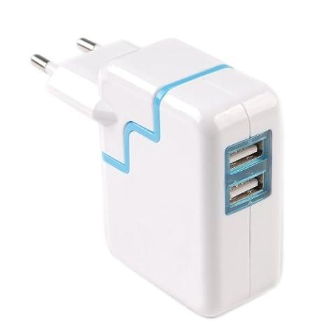 tinxi® Doppel USB Netzteil 2 Port Netzgerät Ladegerät Steckdose Reiseladegerät 5V 3,1A Dual USB 2 Port Netzgerät für alle Smartphone, Handy, Tablet PC, Spielkonsolen, GPS Geräte, E-Book Reader, Mp3/Mp4-Player u.s.w