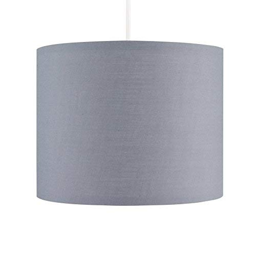 (Polycotton Zylinder Deckenleuchte Anhänger/Tisch Lampe Drum Schatten grau ()